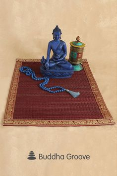 Organic meets ornate with Buddha Groove's seagrass altar mats, each dyed and finished with golden trim. Multiple colors available. Plum Purple, Natural Texture, Jewel Tones, Altar, Hand Weaving, Japan, Buddha Statues, Artist, Compassion