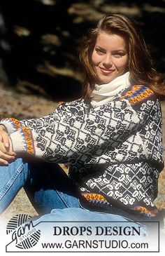"""DROPS 35-20 - Drops Sweater with Norwegian inspired pattern in """"Alpaca"""" - Free pattern by DROPS Design"""