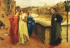 Dante and Beatrice, by Henry Holiday. Dante looks longingly at Beatrice (in center) passing by with friend Lady Vanna (red) along the Arno River Dante Alighieri, Arno, Gabriel Rossetti, World Famous Paintings, Inferno Dan Brown, Gabriels Inferno, Unrequited Love, Walker Art, Beatrice Portinari