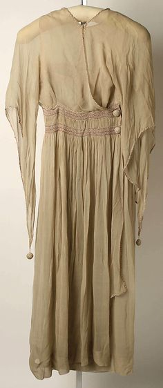 "Beige silk dress (front) by Liberty of London, British, ca. 1913. Label: ""Liberty, London and Paris"""