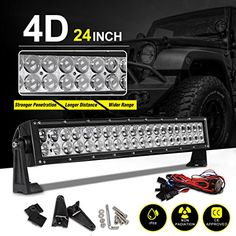 """22""""-24"""" 4D LED Light Bar 200W with 8ft Wiring Harness Kit, Straight Fish Eye Lens 20000Lumens Offroad Automotive Spot & Flood Combo Beam Work Light + Adjustable Mounting Brackets and Screws  [Advanced Bright LED Technology] - 50,000 hour lifetime; Spot Flood Combo light application; 4D lens 30% Brighter than other LED lights; Up to 20,000 Lumens  [Weather-Proofed!] - IP68 Rated 100% weather resistant glass; Heavy-duty die-cast aluminum construction; Improved heat sinks efficiently disp..."""