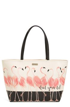 Free shipping and returns on kate spade new york 'strut your stuff - francis' tote at Nordstrom.com. Strut your stuff from city street to sandy beach with this durable tote printed in prancing flamingos to give your everyday look a tropical feel.