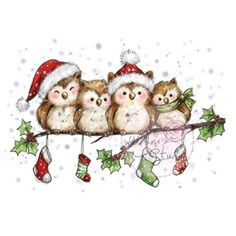 weihnachten motive Wild Rose Studio - Clear Stamp - Owls on Branch - neu! Wild Rose Studio - Clear Stamp - Owls on Branch Christmas Bird, Christmas Drawing, Christmas Paintings, Christmas Clipart, Christmas Printables, Christmas Pictures, Winter Christmas, Vintage Christmas, Christmas Crafts