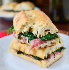 Prosciutto Manchego Sandwiches with Spinach and Fig Preserves