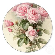 Vintage Victorian Romantic Roses 6 Stickers 3 inches in diameter $4.95