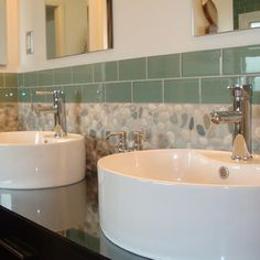 Ocean Mix Pebble Tile and 3x6 Sage Green Glass Subway Tile - contemporary - Bathroom - Design For Less