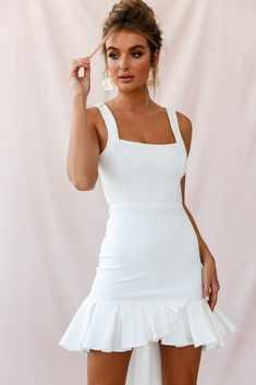 Shop the Heartbreaker Open Back Pleated Hem Dress White exclusively at Selfie Leslie! Hoco Dresses, Pretty Dresses, Dress Outfits, Fashion Dresses, White Homecoming Dresses, Ankara Fashion, Emo Outfits, Dress Prom, Fall Dresses