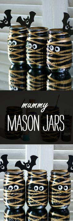 Halloween Craft Idea with Mason Jars: Mummy Mason Jar @iaswp
