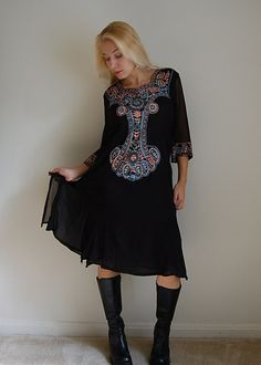 70s dress / ethnic embroidered black tunic / by dressedinvintage, $35.00