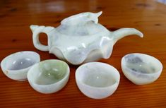 """Wealth and Prosperity"" Fish Chinese Jade Teapot Set Tea Pot Set, Teapots And Cups, Wealth, Hand Carved, Jade, Chinese, Carving, Collections, Fish"
