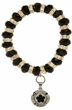 Black Crystal Stretch Bracelet with Spinner Charm Jouel. Save 73 Off!. $7.99