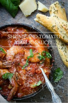Shrimp simmered in a roasted garlic tomato sauce with Pancetta and basil | Foodness Gracious