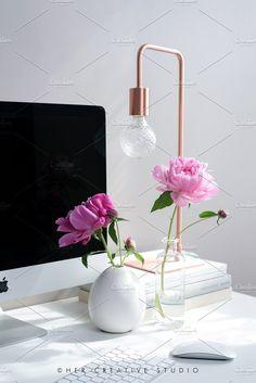 Portrait, Pink Peonies Desk by Her Creative Studio on @creativemarket