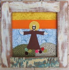 Lindo quadrinho de São Francisco de Assis. Feito em madeira de demolição e tecido algodão 100%. Exelente opção para decorar e presentear! R$65,00