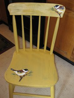 Painted chair with birds