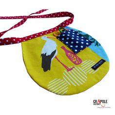 Tablier enfant original  jaune motifs oiseau heron et sa poche chic retro  nouer bleu marine à pois. chic à nouer attache rouge à pois  taille unique mixte  fait main Made in france  mini série CréAtion : CrApule FActOry