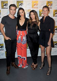 Actors Chris Pine and Gal Gadot director Patty Jenkins and actress Connie Nielsen attend the Warner Bros 'Wonder Woman' Presentation during ComicCon...