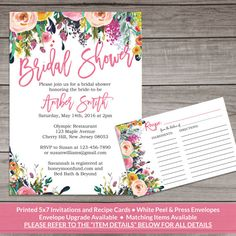 Watercolor Floral bridal shower invitation! Perfect for spring!! This listing is for the printed invitations that will be shipped to your address. You can also purchase the matching recipe cards!  We also include other matching items that are available for instant download which you can print at home for your event! For matching items, please click the following link: https://www.etsy.com/shop/PartyPrintery/search?search_query=Bridal-154    ❤❤❤❤ THIS PACKAGE INCLUDES ❤❤❤❤ Printed 5x7…