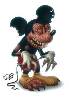 Mickey Mouse [as a monster] (Drawing by DcTattoo_Swe Zombie Disney, Disney Horror, Horror Cartoon, Zombie Cartoon, Horror Comics, Horror Art, Disney Pixar, Totoro, Dark Disney