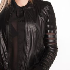 Black leather jacket – semi transparent sleeves – ONE LOVE CH Semi Transparent, Black Leather, Leather Jacket, Italy, Sleeves, Jackets, Tops, Fashion, Black Patent Leather