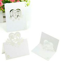 50 Marque Place  coeur   blanc carton nacre decoration table mariage