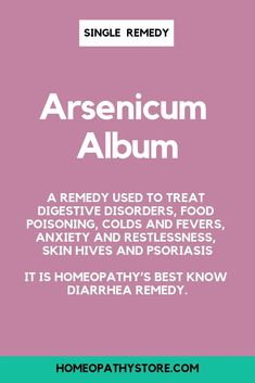 Arsenicum Album is a remedy used to treat digestive disorders, food poisoning, colds and fevers, anxiety and restlessness, skin hives and psoriasis. It is homeopathy's best know diarrhea remedy! Learn more + buy at Diarrhea Remedies, Homeopathic Remedies, Health Remedies, Acupuncture, Le Psoriasis, Psoriasis Remedies, Album, Homeopathy Medicine, Holistic Medicine