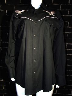 Vintage Mens Western Shirt L Black Ely Diamond 90s Embroidered Pearl Snap Button #BlackDiamond #Western