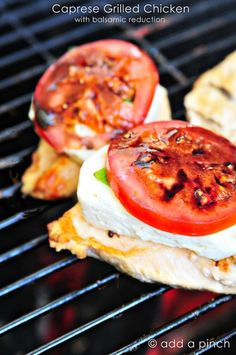 Caprese Grilled Chicken with Balsamic Reduction Recipe --Didn't feel like grilling so I baked 10 mins, then put on the basil and mozza for the last 10 mins - really good!