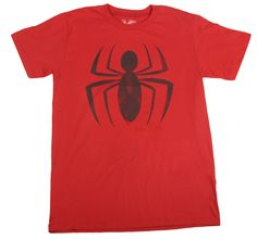 0180b5fb Spider-Man Distressed Ink Red Spider Logo Adult T-shirt Tee (Adult X-Large)