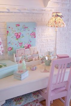 Cath kidston inspired desk area uber cute pink floral