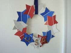 Our 4th of July paint-chip wreaths