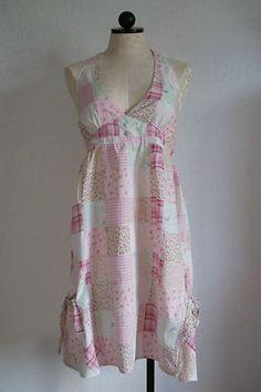 MANGO REEF Pink Floral Patchwork Cotton Boho Halter Top Summer Dress- Large SOLD!!!
