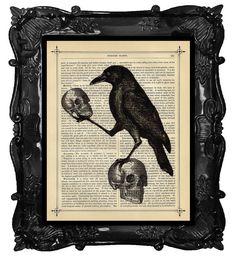 Halloween Crow with Skulls art Halloween Raven di BlackBaroque