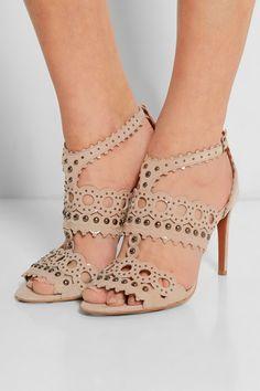 Alaïa - Laser-cut patent-leather and suede sandals 263349b4ce8