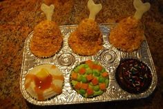 TV dinner cupcakes!  Daughter's birthday is April 1st, so I made these for her to take to class. That was three years ago and they still talk about the cupcakes.