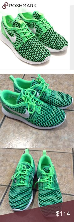 Nike Roshe Flyknit Women's 7.5 LN Voltage Green Nike Roshe Flyknit Women's shoe in 7.5 and only worn 2-3 times in great condition.  Style and color # is 704927-305. I do not have the box for them it is the shoes only. Voltage green and black Nike Shoes Athletic Shoes