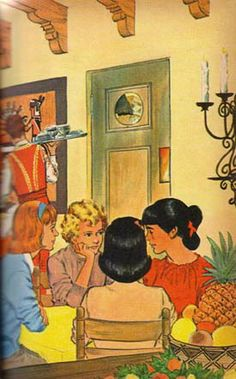 (5) Illustration by Paul Frame is from the 1965 Whitman Deluxe edition of Trixie Belden and the Mystery in Arizona.