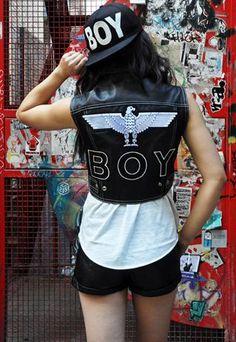 Rare Vintage Boy London Leather Waistcoat & Badge from JCR-Planet Vintage Boys, Boy London, Badge, Tank Tops, My Style, Leather, Black, Women, Fashion