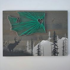 Custom, Hand Painted, Washington State String art for an outdoorsman.  www.etsy.com/shop/thewoollybugger