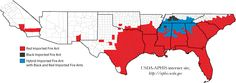 Areas in the USA where Red Fire Ants have been reported.