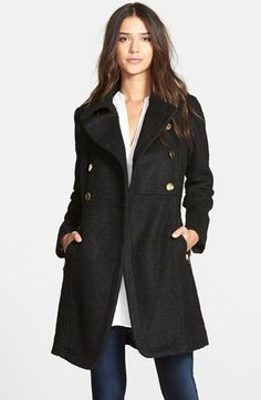 Double-breasted petite peacoat