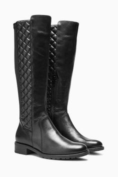 Buy Black Leather Quilted Long Boots online today at Next: Denmark