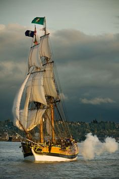 Master gunner, put one across her bow....The Lady Washington firing her canon...  She is Visiting the Oregon Coast this month. Taking my young kids today.