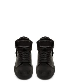 Buscemi 100mm Tonal Black Mid Top Sneaker-SS15BUSM16 - Sneakerboy