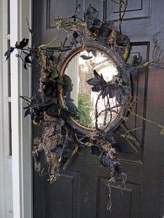 35 Amazing Vintage Halloween Décor Ideas : Vintage Halloween Décor Ideas With Black Wooden Door And Mirror Ornament