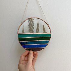 Everglowglass on Instagram Glass Cutter, Copper Accents, Sun Catcher, Blue Tones, Stained Glass Art, Ferns, Diamond, Handmade, Etsy