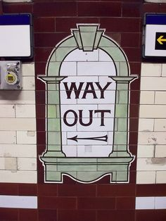 "Our ""ALT UNDERGROUND"" theme would take on elements of the London Underground. Adding character and kitch :) Vintage London Underground sign. way out, signage, bricks, message London Underground, Vintage London, Old London, London Transport, London Travel, London City, Hyde Park Corner, S Bahn, London Calling"