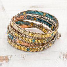 Colorful Glass Beaded Wrap Bracelet from Guatemala Beaded Wrap Bracelets, Bohemian Bracelets, Layered Bracelets, Boho Jewelry, Handmade Jewelry, Jewlery, Bead Loom Patterns, Jewelry Packaging, Loom Beading