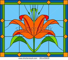 Vector composition of a bouquet of lilies / Stained glass window