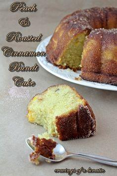 Peach and Roasted Cinnamon Bundt Cake with Cinnamon Sugar